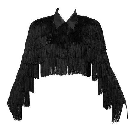 Norma Kamali Omo Vintage 1980s Black Fringe Jacket For Sale at 1stdibs