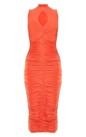 Orange Slinky High Neck Sleeveless Midaxi Dress | PrettyLittleThing USA