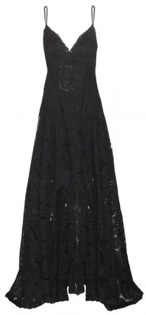 Floor length black lace gown