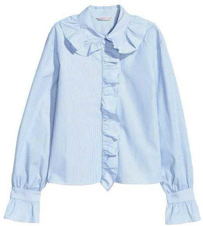 Long sleeve baby blue ruffed seersucker button up blouse