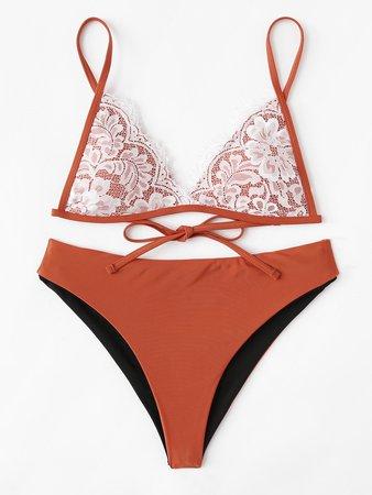 Lace Overlay Self Tie Bikini Set