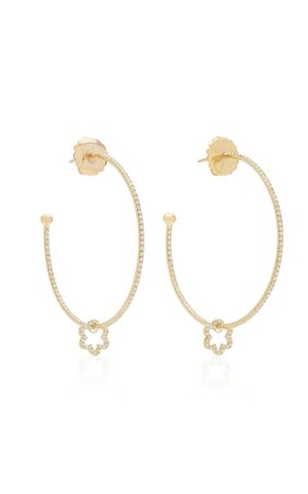 18K Gold And Diamond Hoop Earrings by Ashley McCormick | Moda Operandi