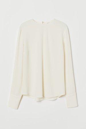 Long-sleeved Blouse - White