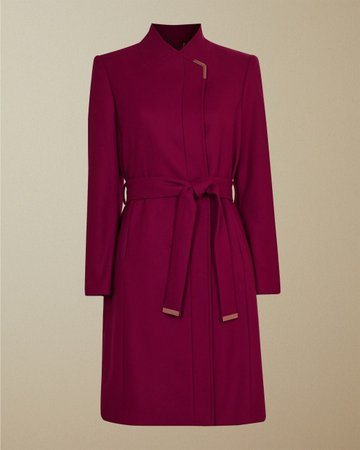 Long belted wrap coat - Deep Pink   Jackets & Coats   Ted Baker