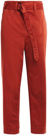 Cropped Belted Cotton-blend Gabardine Tapered Pants