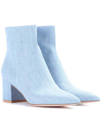 Light blue denim ankle boots