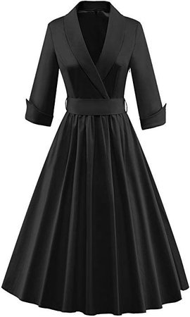Tecrio Women Vintage Classy 1/2 Sleeve Rockabilly Solid Trench Coat Spring Dress S Black at Amazon Women's C… (With images) | Vintage outfits classy, Classy outfits, Classy dress