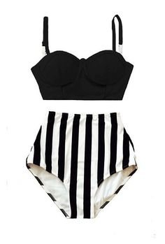 black gothic striped swimsuit