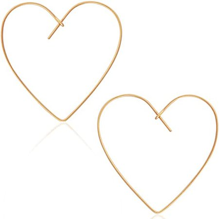 Amazon.com: Humble Chic Heart Hoop Earrings for Women - Hypoallergenic Lightweight Open Wire Threader Drop Dangles, 18K Yellow Heart, Gold-Plated, Made in USA: Jewelry