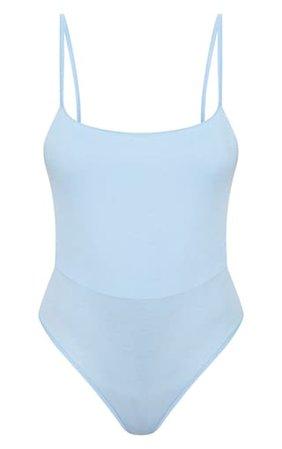 Basic Baby Blue Square Neck Thong Bodysuit   PrettyLittleThing