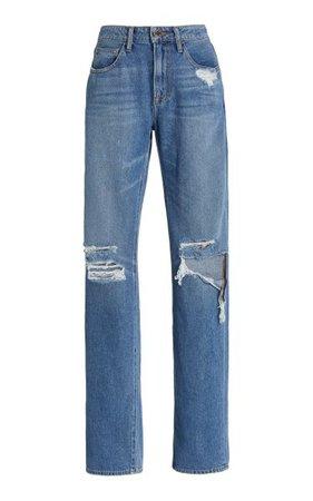 Distressed Rigid High-Rise Boyfriend Jeans By Brandon Maxwell | Moda Operandi