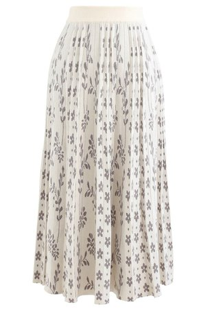 Floret Pleated Knit Midi Skirt in Ivory - Retro, Indie and Unique Fashion