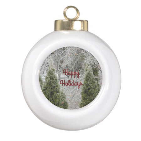 Happy Holidays Tranquil Icy Branches Snowflake Pewter Christmas Ornament   Zazzle.com