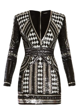 Sequin-embellished mini dress | Balmain | MATCHESFASHION.COM