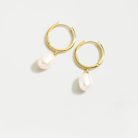 J.Crew: Demi-fine 14k Gold-plated Pearl Hoop Earrings For Women