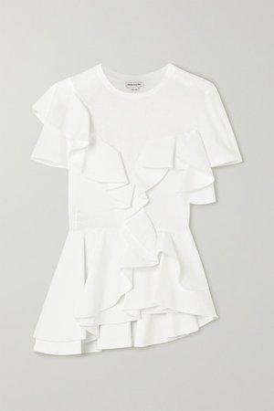 Ruffled Cotton-jersey And Poplin T-shirt - White