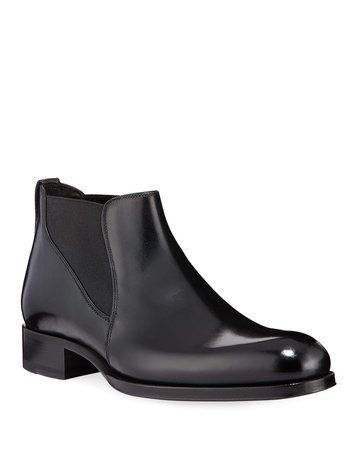 TOM FORD Men's Edgar Low Leather Chelsea Boots | Neiman Marcus