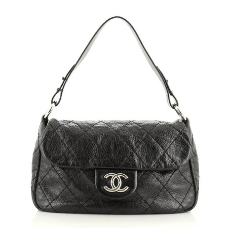 Chanel On the Road Flap Bag Quilted Leather Small Black 51197307 – Rebag