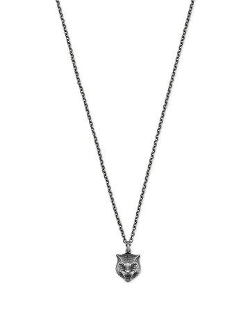 "Gucci 20-22"" Feline Head Sterling Silver Necklace"