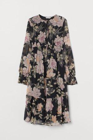 MAMA Patterned Dress - Black