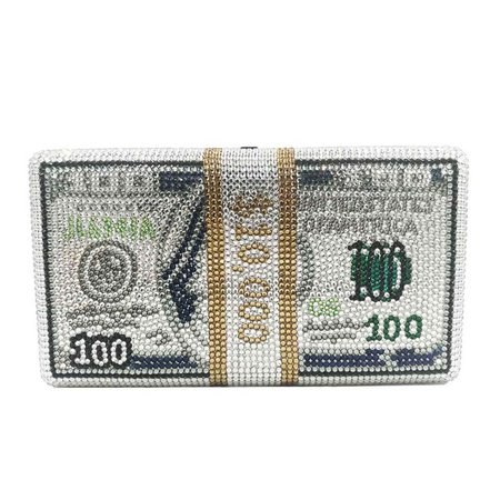 Crystal Money USD Bags Dollar Diamond Evening Bags Party Purse Clutch Bags Sc992 Color Silver