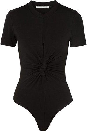 alexanderwang.t | Twisted stretch-cotton jersey thong bodysuit | NET-A-PORTER.COM