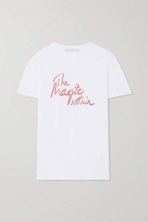 Ninety Percent International Women's Day Printed Organic Cotton-jersey T-shirt - White