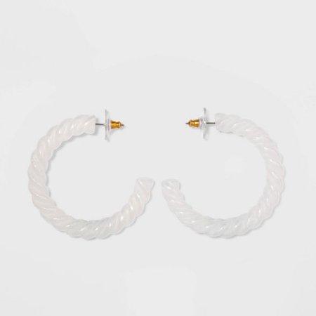 SUGARFIX By BaubleBar Retro Clear Acrylic Hoop Earrings - White : Target