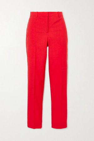 Wool Slim-leg Pants - Red