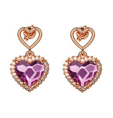 Σκουλαρίκια συλλογή Love καρδιά από ρόζ επιχρυσωμένο ασήμι με πέτρες Swarovski