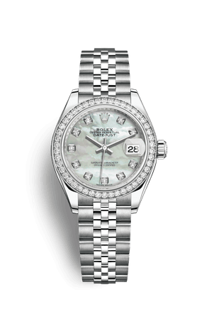 Rolex Lady-Datejust Watch: White Rolesor - combination of Oystersteel and 18 ct white gold - M279384RBR-0011