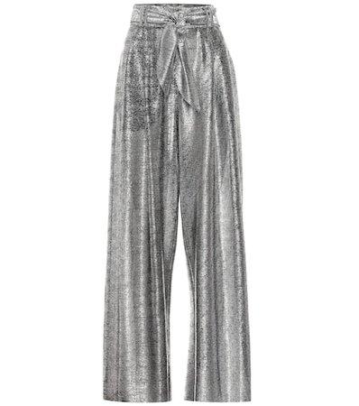 High-rise metallic wide-leg pants