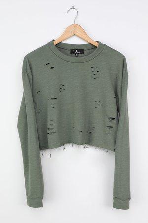Distressed Sweatshirt - Cropped Sweatshirt - Green Sweatshirt - Lulus