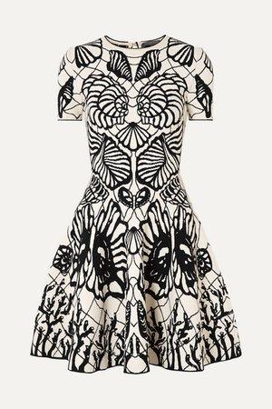 Jacquard-knit Mini Dress - Black