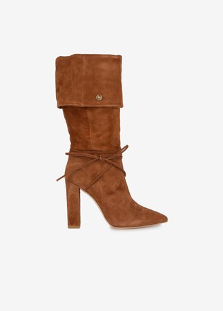 Suede high boots with turn up, decorative laces and wide heel 'Dany'