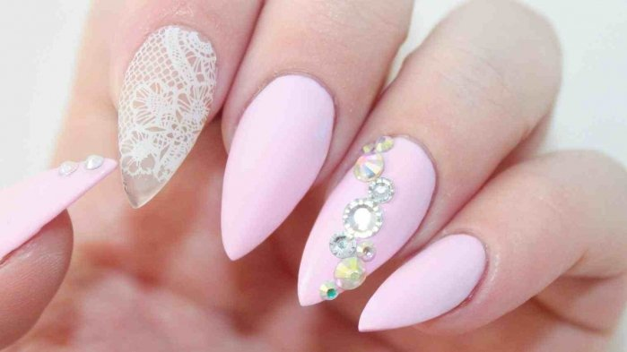 Diamond with Baby Pink Nail Paint | Pak Fashion Week | The Nails and Fashion Spot