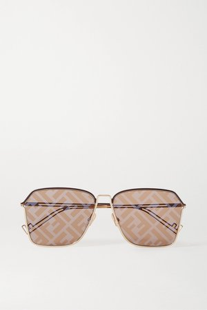 Gold Square-frame gold-tone and acetate mirrored sunglasses | Fendi | NET-A-PORTER