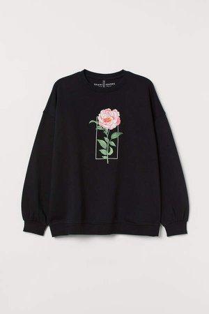 H&M+ Printed Sweatshirt - Black