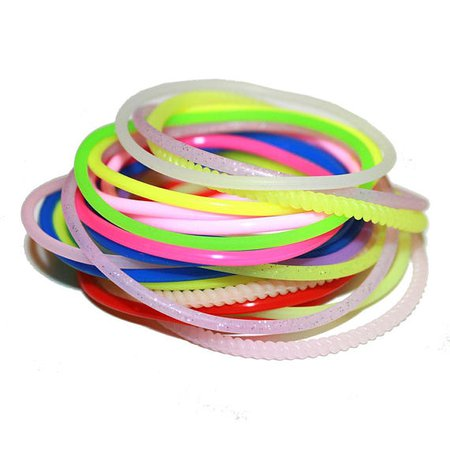 Set of 90's Rubber Bracelets - Stacking Jewelry 90s rubber bracelet jewelry vintage bracelets rubber rainbow candy EDC club kid