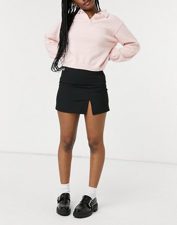 Pull&Bear 90s mini skirt with slit in black | ASOS