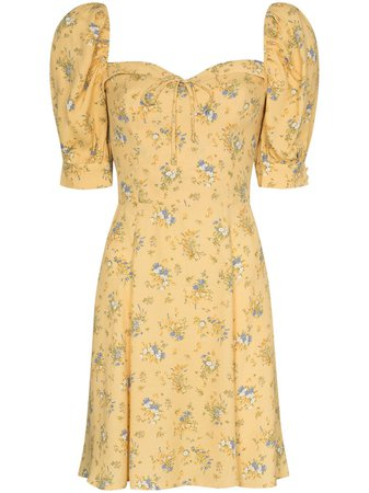 Shop yellow Reformation Lillet floral-print minidress with Express Delivery - Farfetch