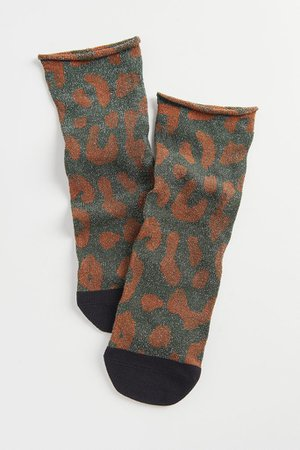 Tailored Union Guépard Roll Top Sock | Urban Outfitters