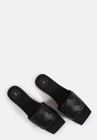 Black Faux Leather Woven Sandals | Missguided
