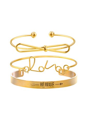 Bow & Letter Detail Bracelets Set 3pcsFor Women-romwe