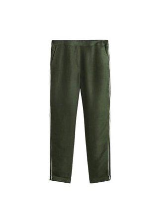 MANGO Contrast trim linen trousers