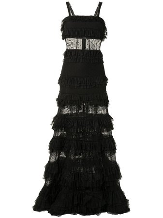 Shop black Alexis Amaryllis ruffled tiered gown with Express Delivery - Farfetch