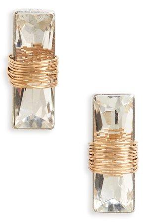 BP. Wire Wrap Crystal Stud Earrings   Nordstrom