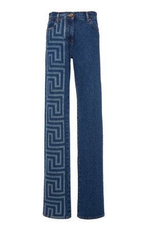Printed Straight-Leg Denim Pants By Versace | Moda Operandi