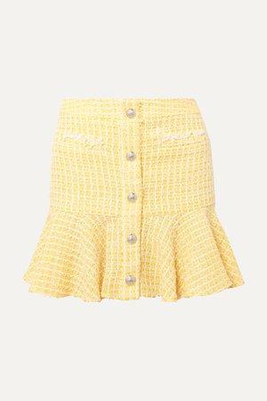 Yellow Ruffled checked bouclé-tweed mini skirt | Veronica Beard | NET-A-PORTER