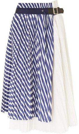 Pleated Striped Cotton-poplin Wrap Skirt - Blue